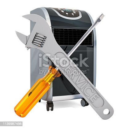 istock Repair and tech support of portable air conditioners concept, 3D rendering 1139987456