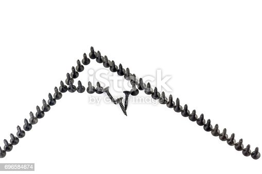 istock Repair as conquest of a mountain peak . mountin with snow cap drawing by black screws on white background 696584674