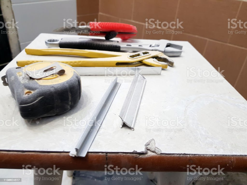 Repair - building with tools wrench, knife, iron knife, adjustable...