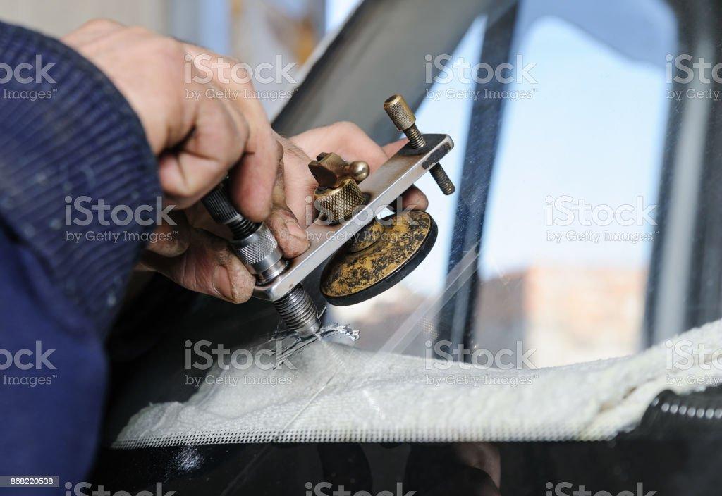 Repair cracked windshield. – zdjęcie