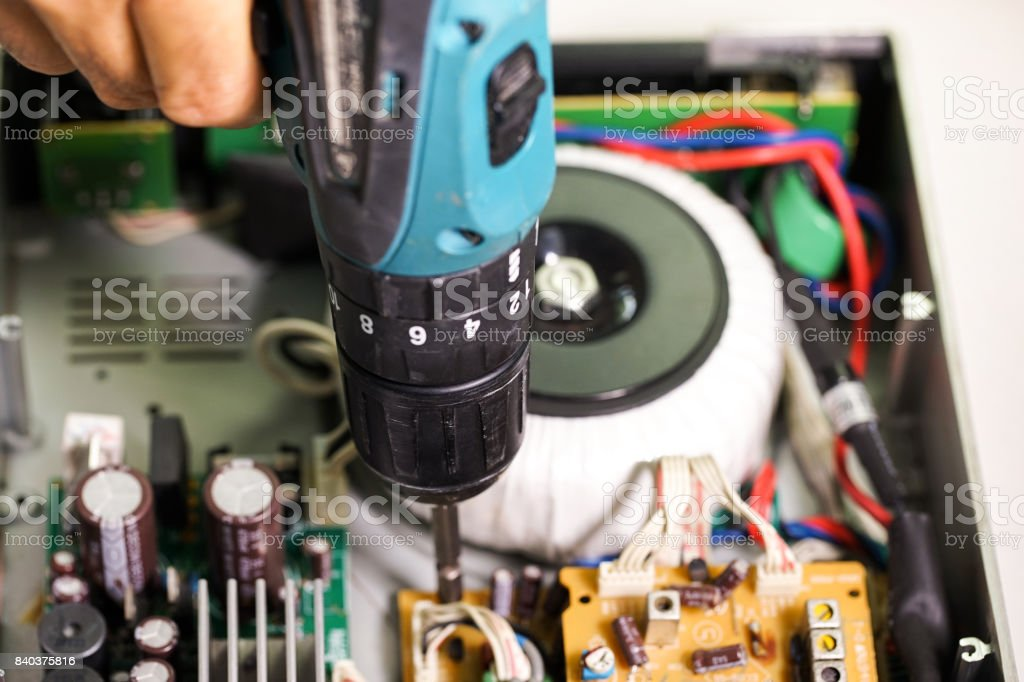 Repair electrical appliances,Electrical circuit repair stock photo