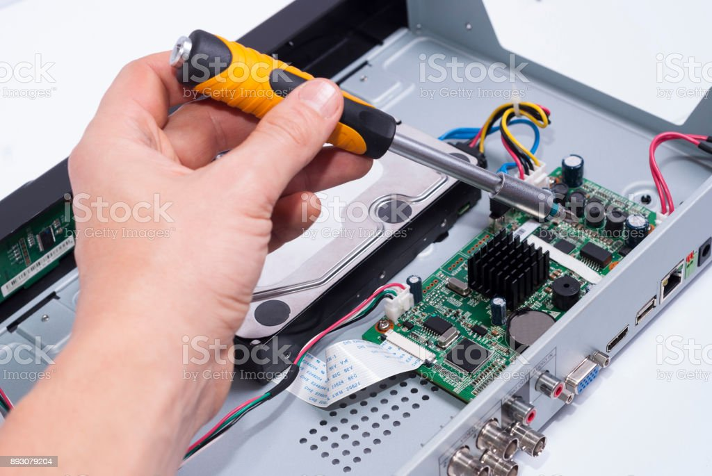 repair electronic equipment stock photo