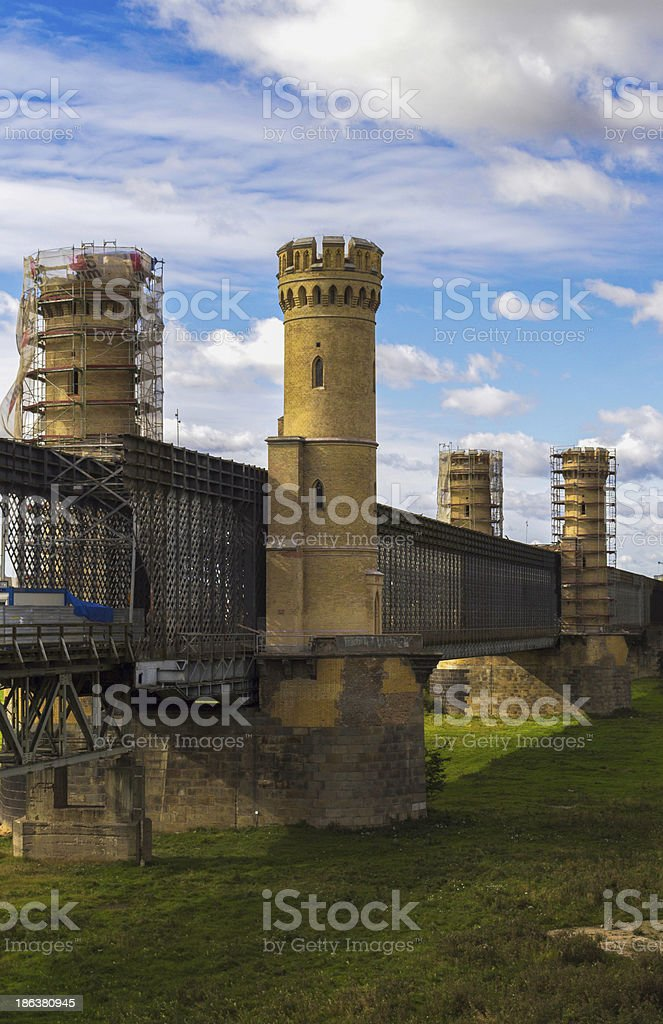 Repair historic bridge over the Vistula river in Tczew stock photo