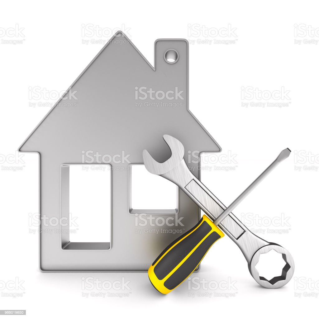 Repair home on white background. Isolated 3D illustration - Стоковые фото Белый фон роялти-фри