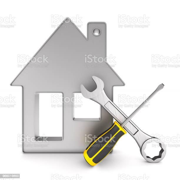 Reparatur Zu Hause Auf Weißem Hintergrund Isolierte 3dillustration Stockfoto und mehr Bilder von Anklopfen