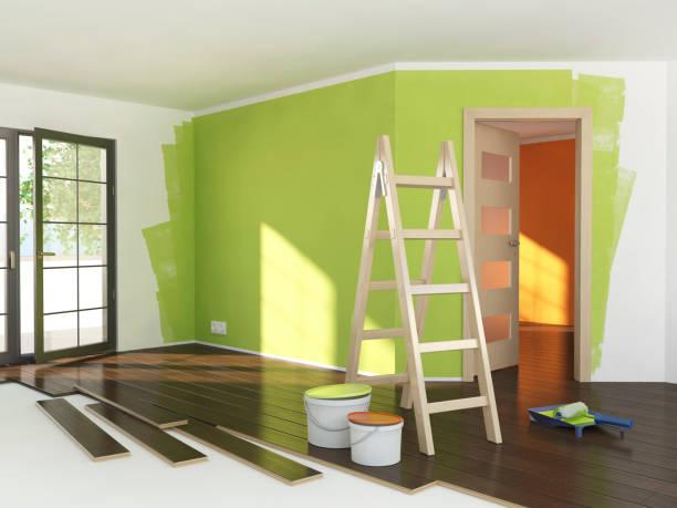 reparar en los colores de la habitación, verde y naranja - pintor fotografías e imágenes de stock