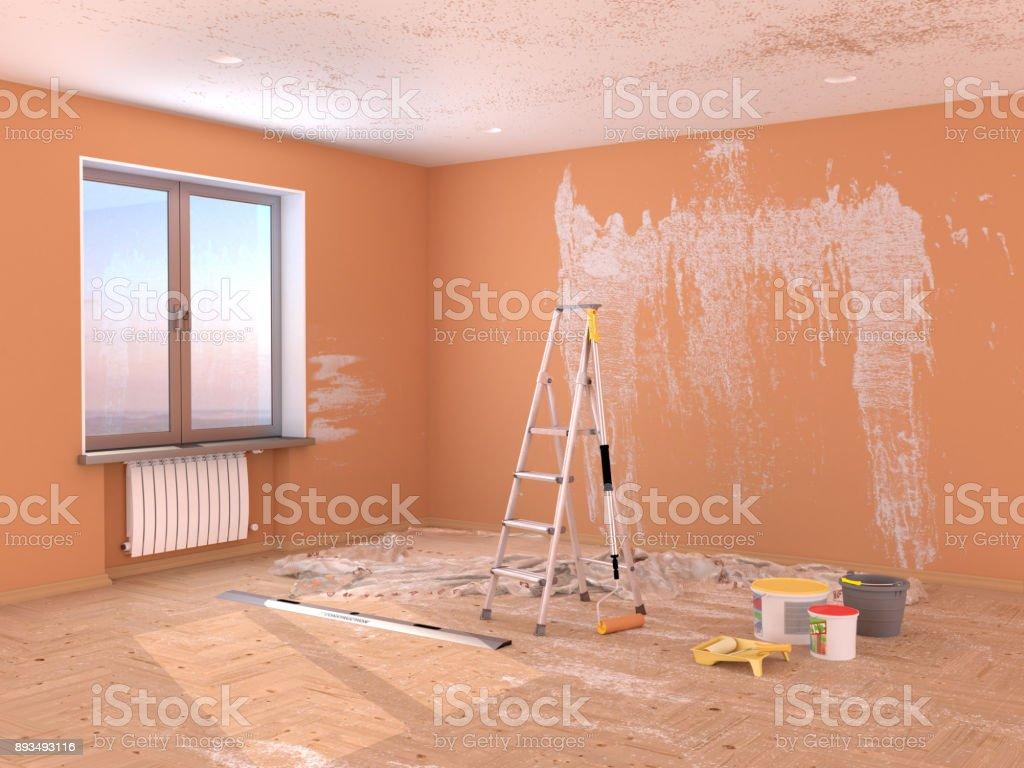 Reparatur Im Raum Malen Und Verputzen Von Wänden Stock-Fotografie ...