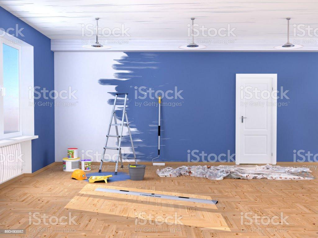 reparatur im raum malen und verputzen von wänden stock-fotografie