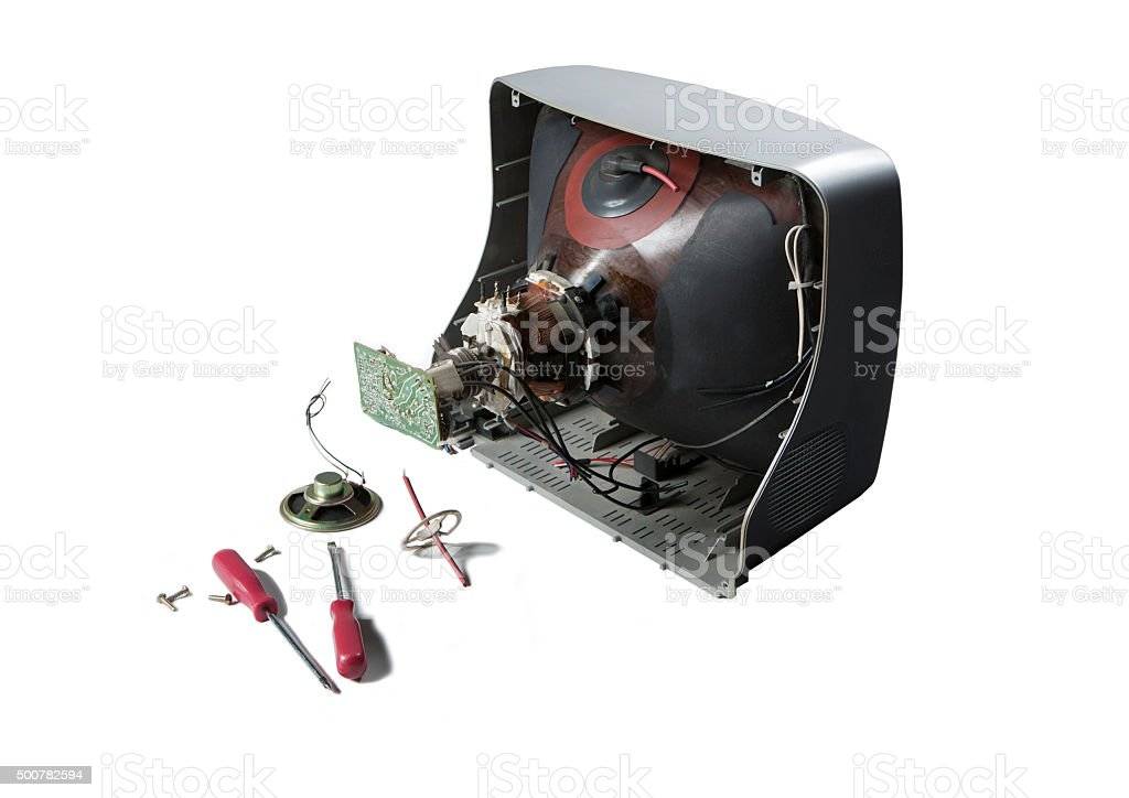 TV repair isolated on white background stock photo