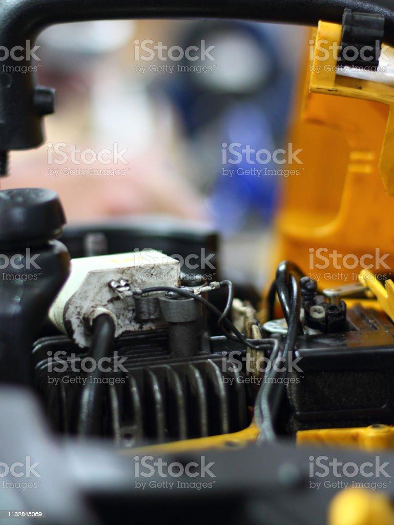 Repair lawnmower stock photo