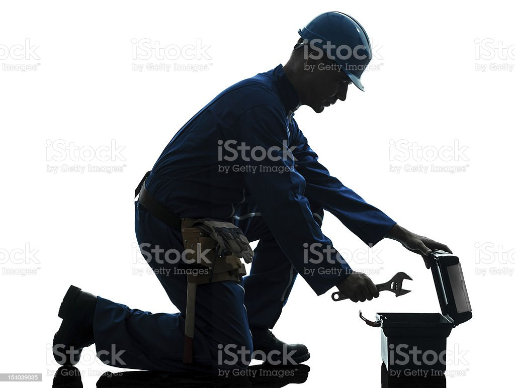 repair man worker silhouette stock photo