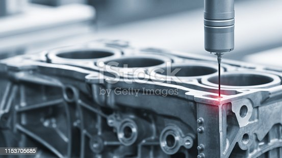 istock Repair motor block of cylinders, operator inspection dimension aluminium automotive par in industrial factory 1153705685