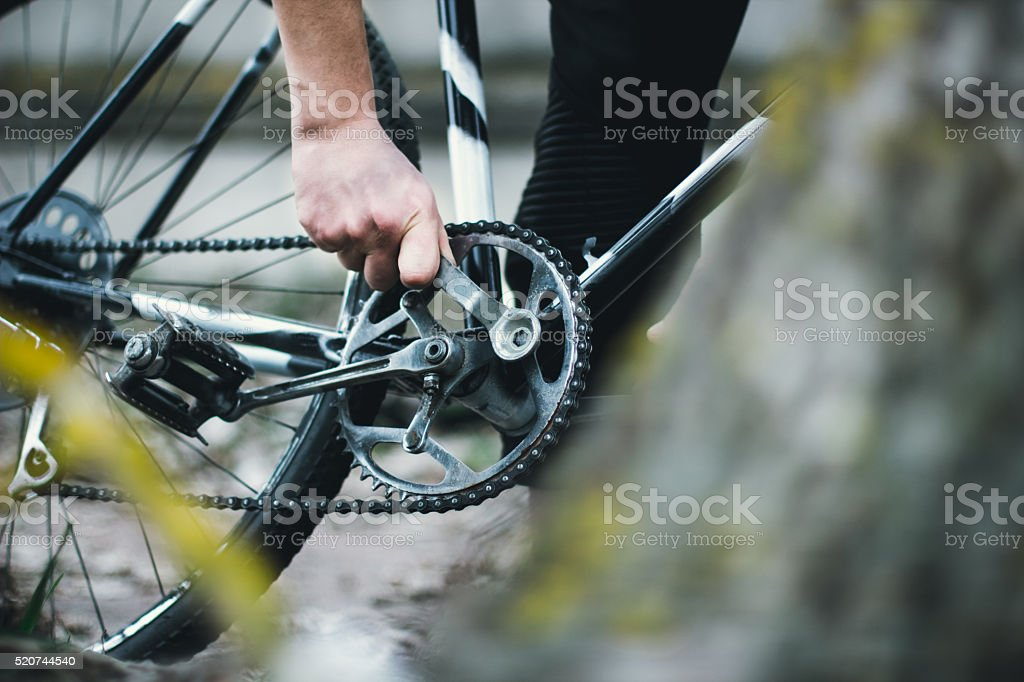 repair of a bicycle stock photo