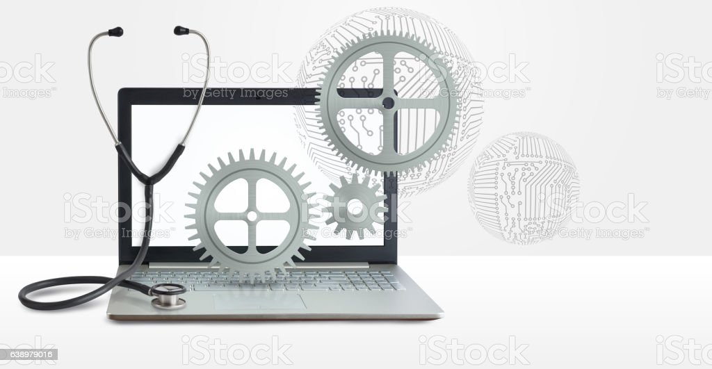Repair of computer equipment. stock photo