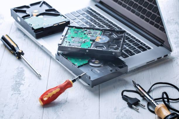 repair of computer hard drives stock photo