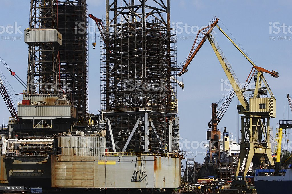 Repair of Oil Platform royalty-free stock photo