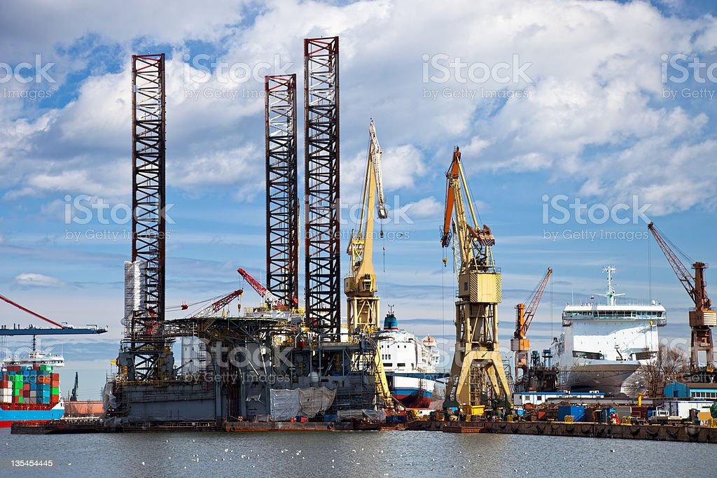 Repair of oil rig royalty-free stock photo