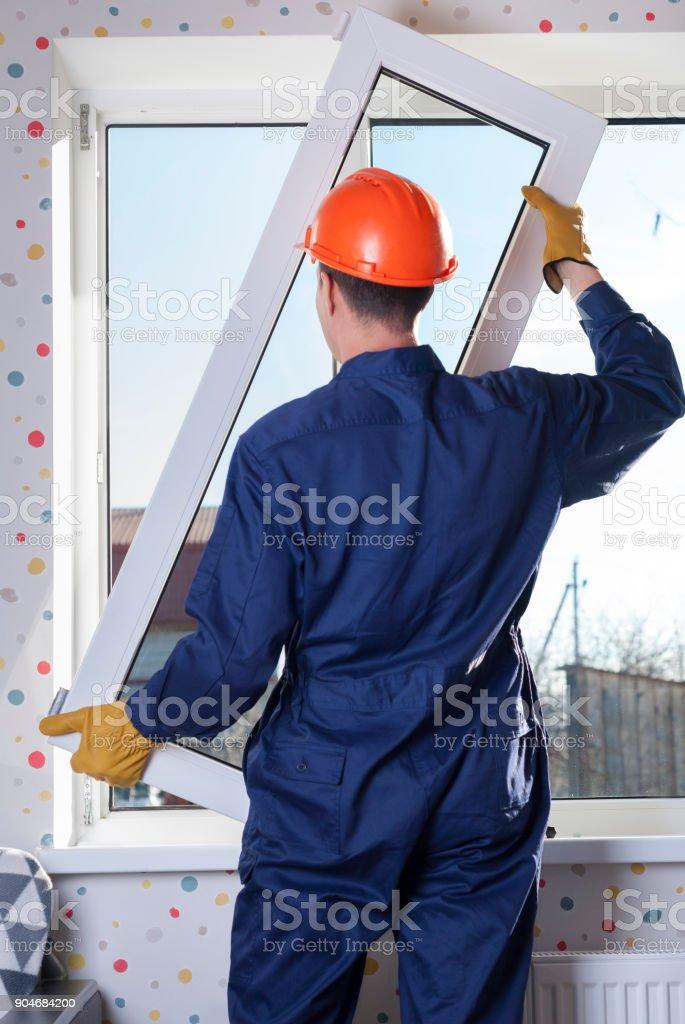 repair of plastic windows stock photo
