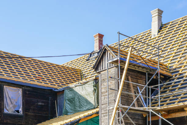 repair of the roof structures of a historic wooden house and replacement of clay tiles repair of the roof structures of a beautiful historic wooden house and replacement of clay tiles replacement stock pictures, royalty-free photos & images
