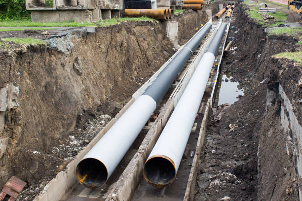 Repair of urban water supply. The trench with pipes. Repair of urban water supply. The trench with pipes. archaeology stock pictures, royalty-free photos & images