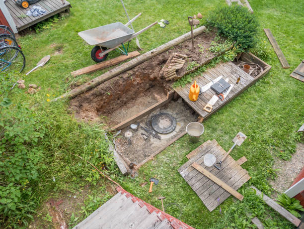 Repair sewer well at home on the back yard. stock photo