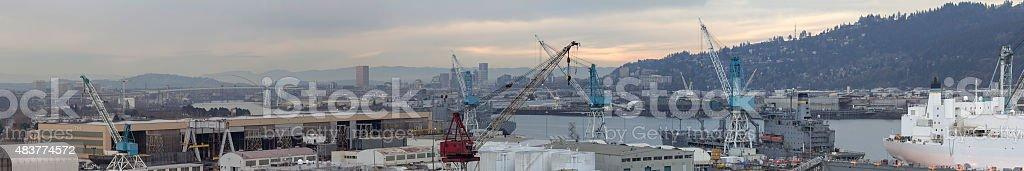 Repair Shipyard in Portland Oregon Panorama stock photo