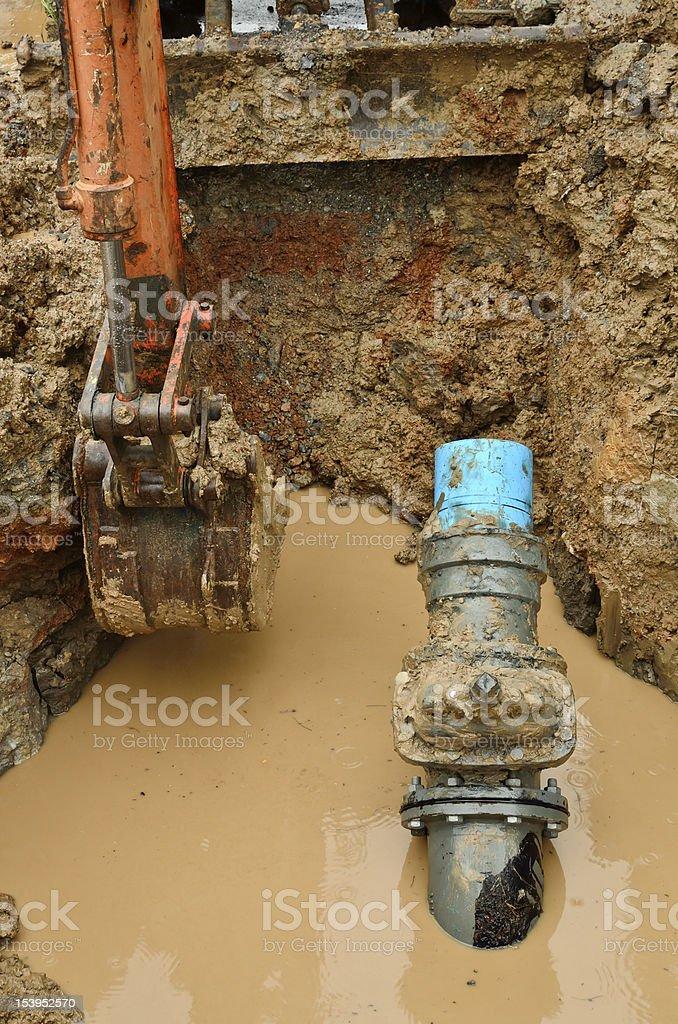 repair the broken pipe royalty-free stock photo