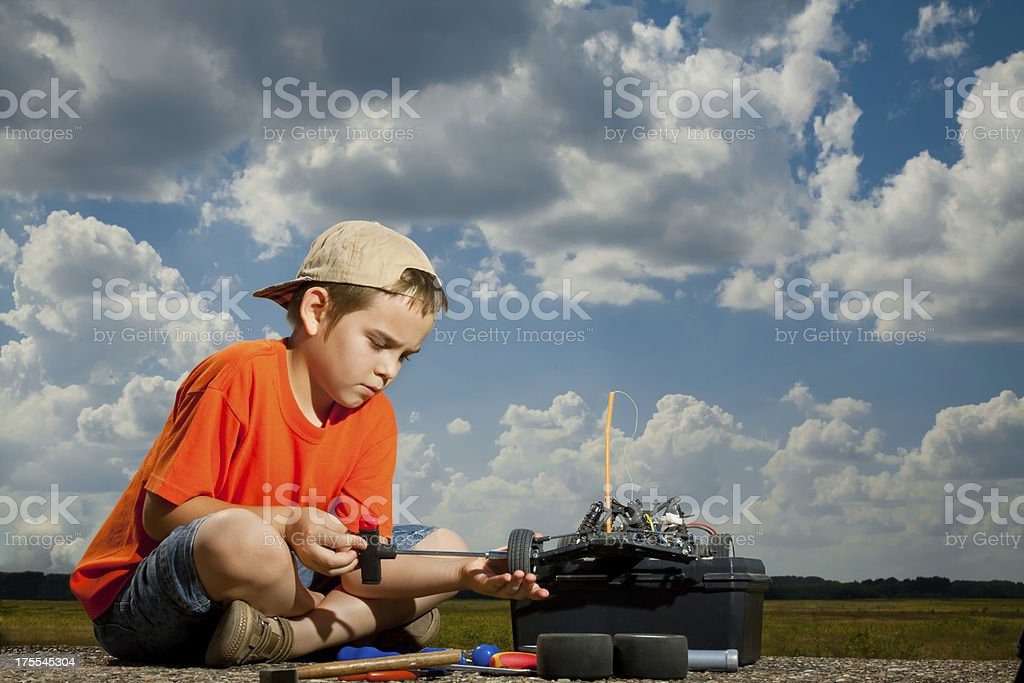 Repair the radio control car stock photo