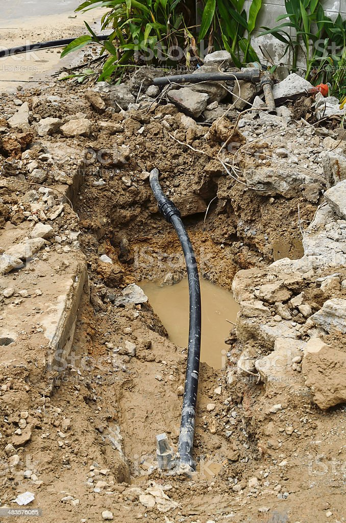 Repair the broken pipe with replace new for domestic water supply