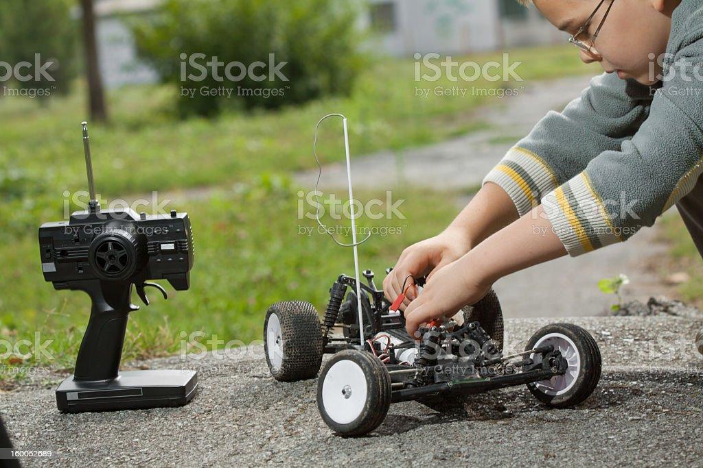 repaire the remote control car stock photo
