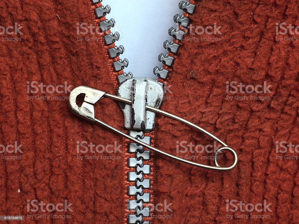 Repaired zipper stock photo