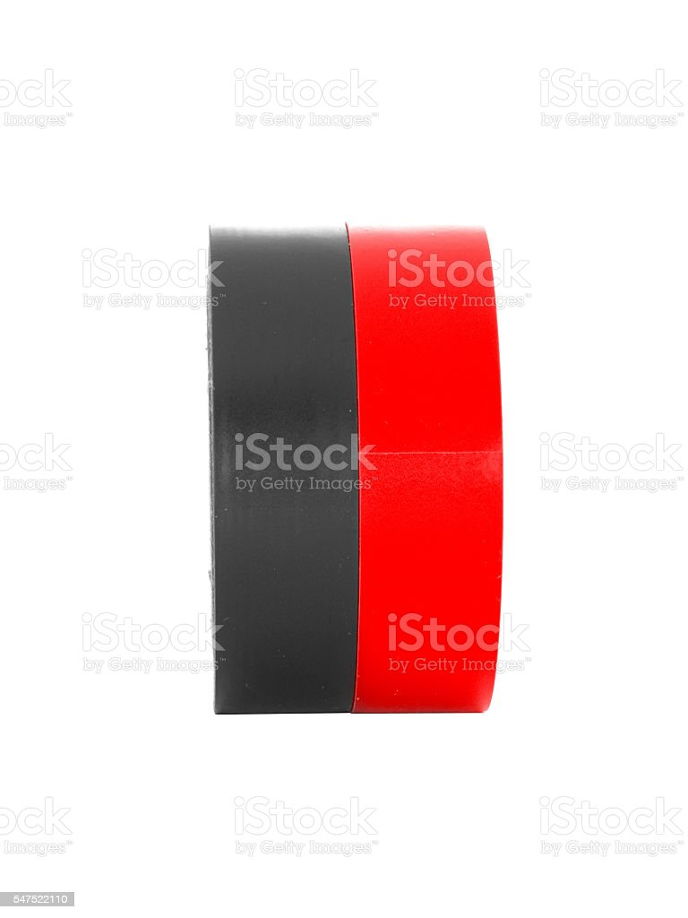 Repairing black, red insulating tape coils isolated on white background stock photo