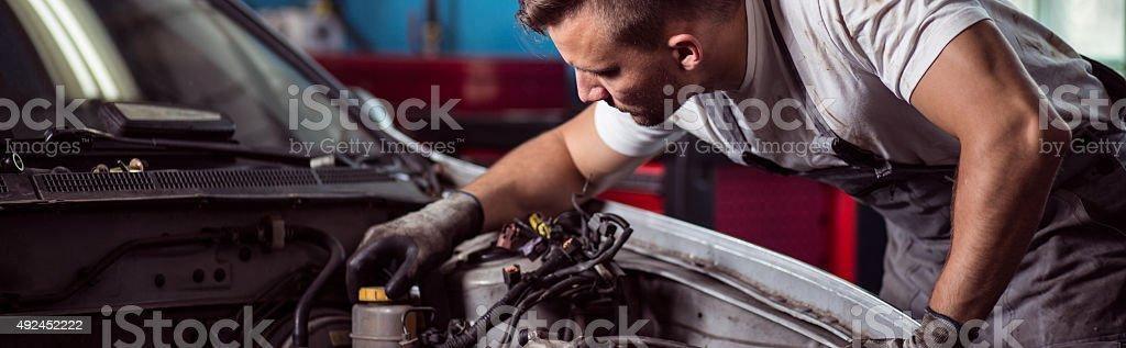Repairing car engine stock photo