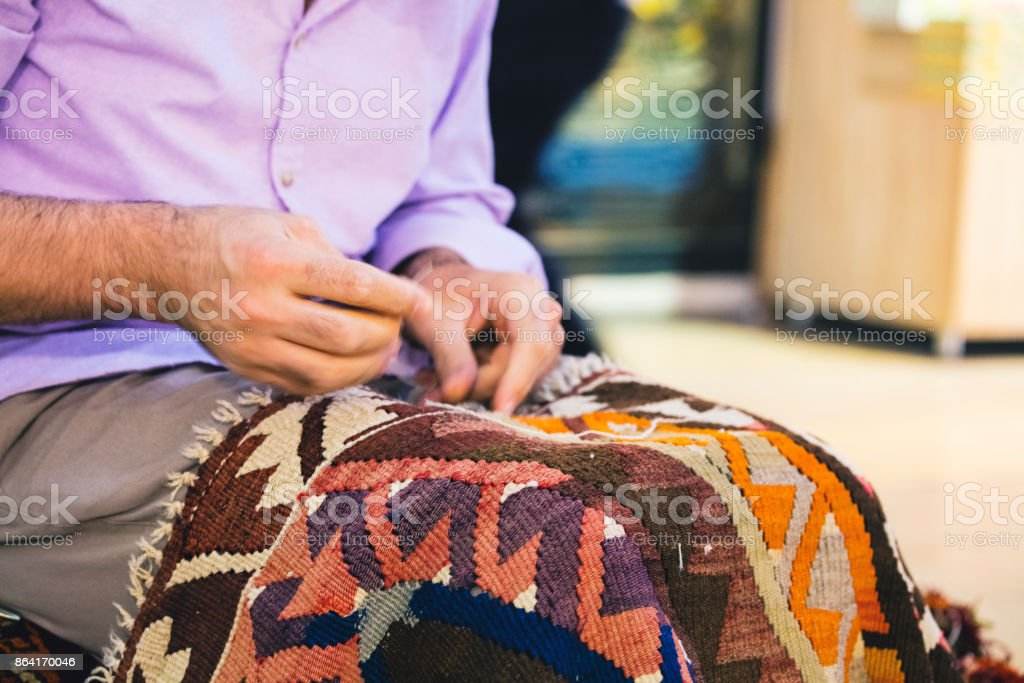 Repairing Carpet royalty-free stock photo