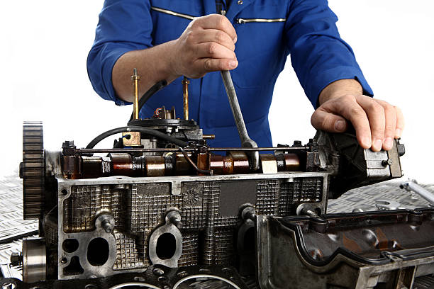 Repairing engine stock photo