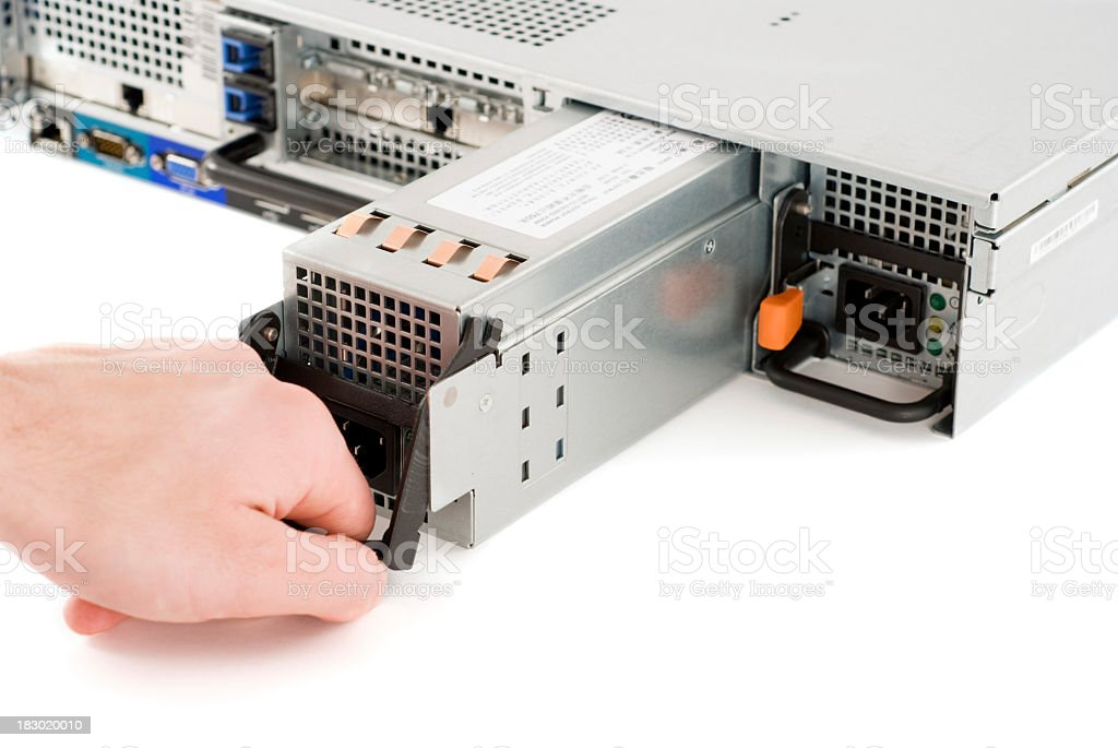 Repairing network server royalty-free stock photo