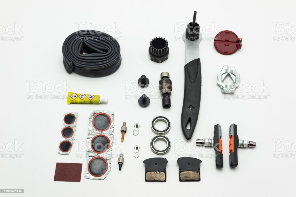 Repairing of bicycle. Tools, parts and equipment set. Isolated on a...