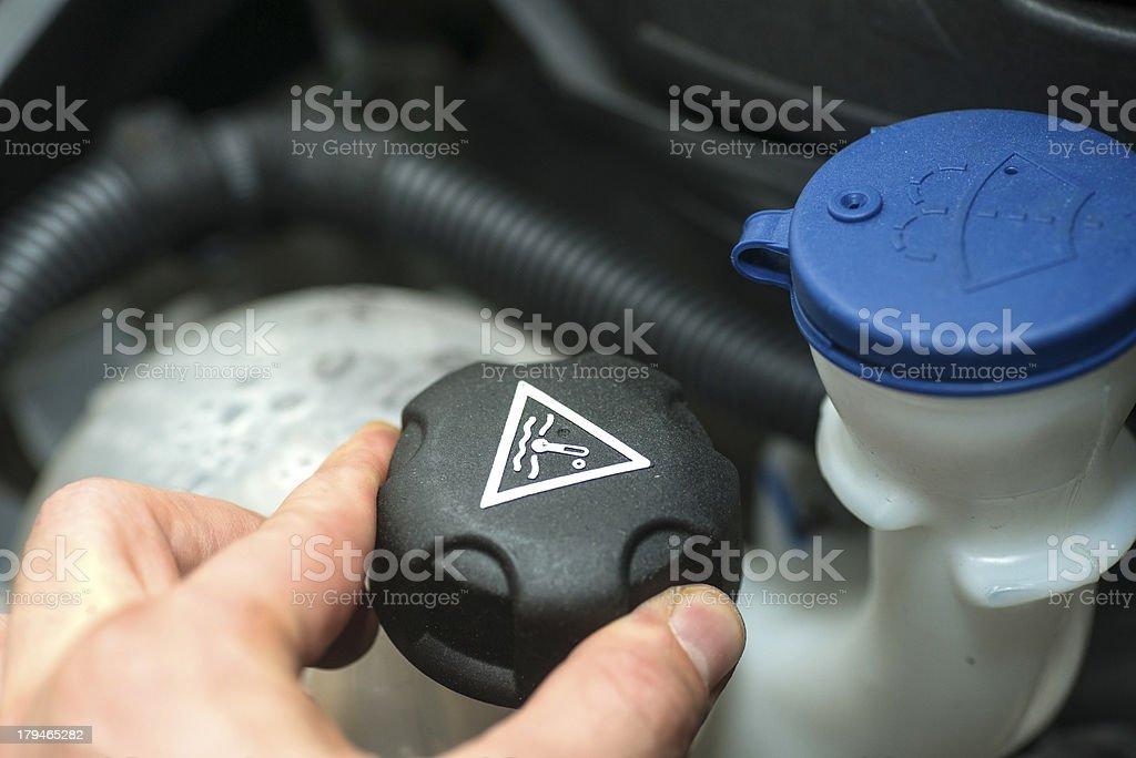 repairing the car heat exchange water stock photo