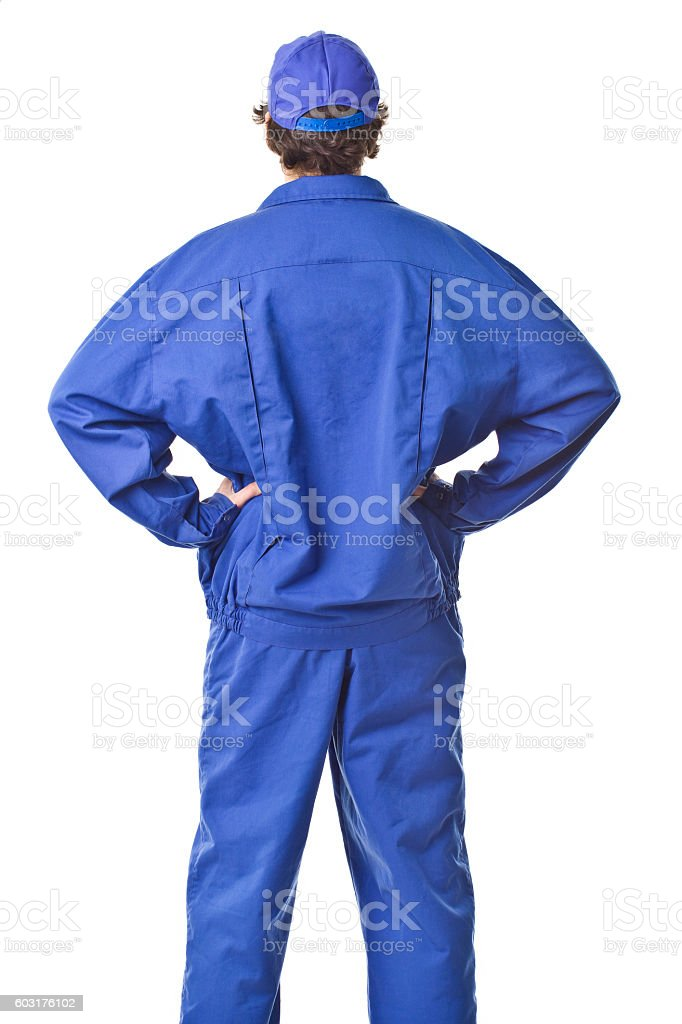 Repairman back portrait with uniform. stock photo