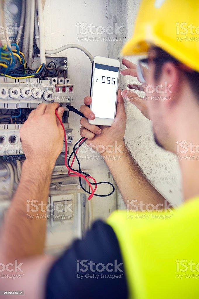 Repairman Checks Voltage royalty-free stock photo
