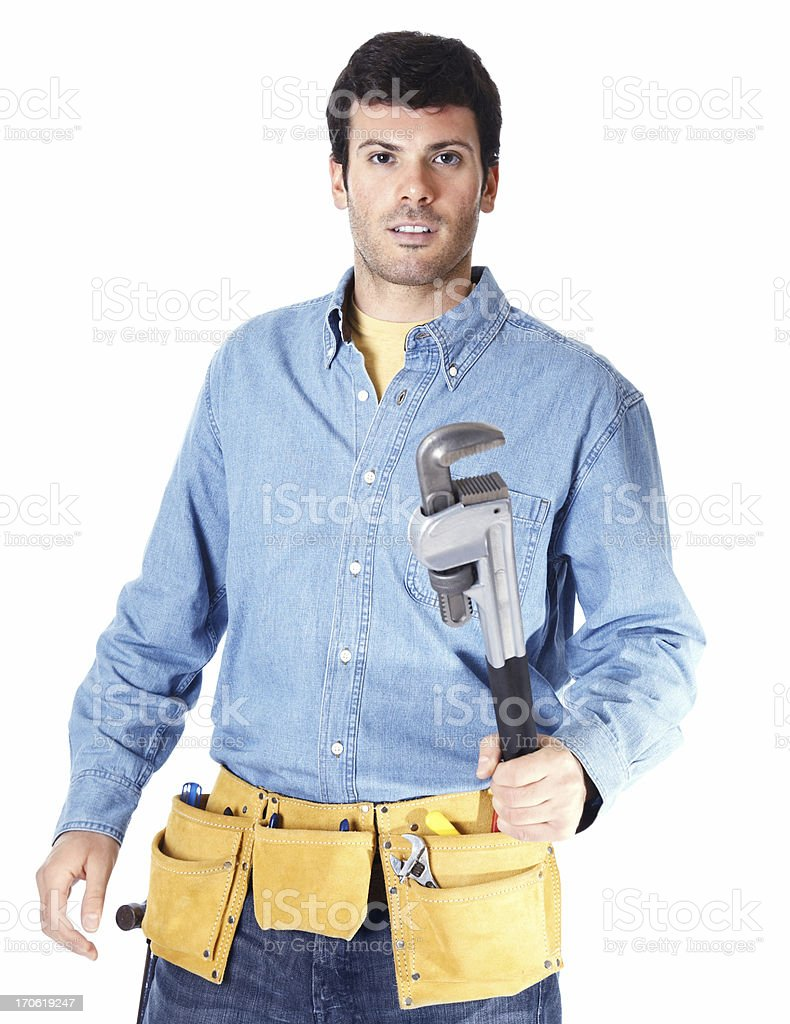 Repairman holding wrench isolated on white stock photo