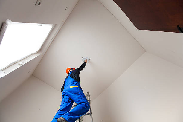 Repairman is Dismounting a Bulb Before Painting the Room stock photo
