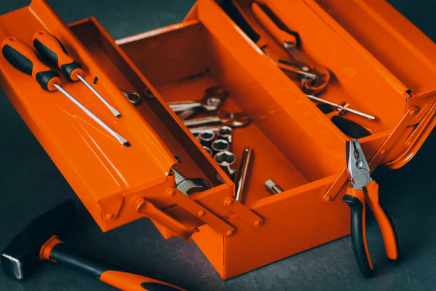 repairman red toolbox professional wrench tool kit stock photo
