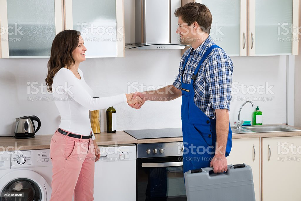 Repairman Shaking Hands With Woman stock photo