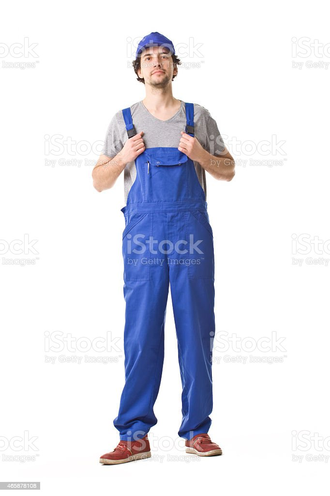 Repairman Smiling Portrait. stock photo
