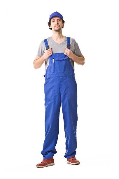 Repairman Smiling Portrait. Repairman portrait. bib overalls stock pictures, royalty-free photos & images