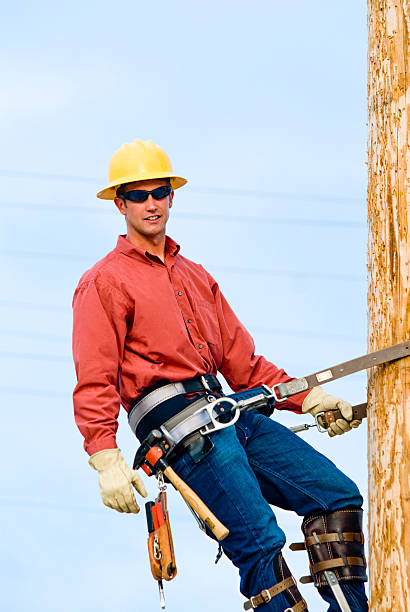 Repairman suspended from utility post poses for camera Electric utility lineman on a pole.  [url=http://bit.ly/uFVk1J][img]http://nicolesyoung.com/istock/lightboxes/lineman.png[/img][/url] football lineman stock pictures, royalty-free photos & images