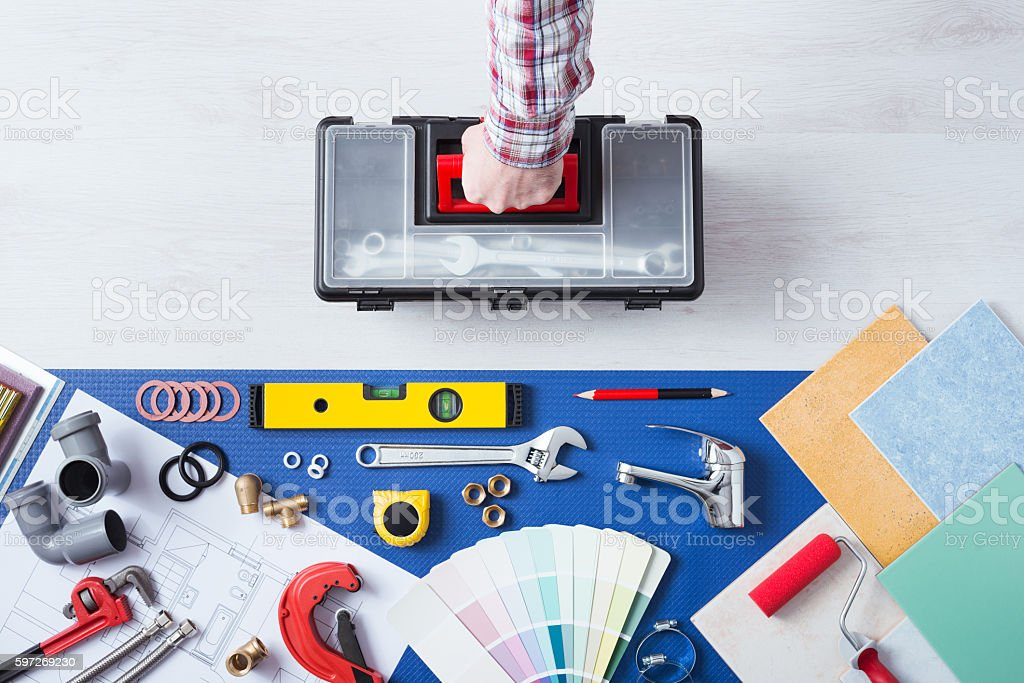 Repairman with toolbox home service royalty-free stock photo