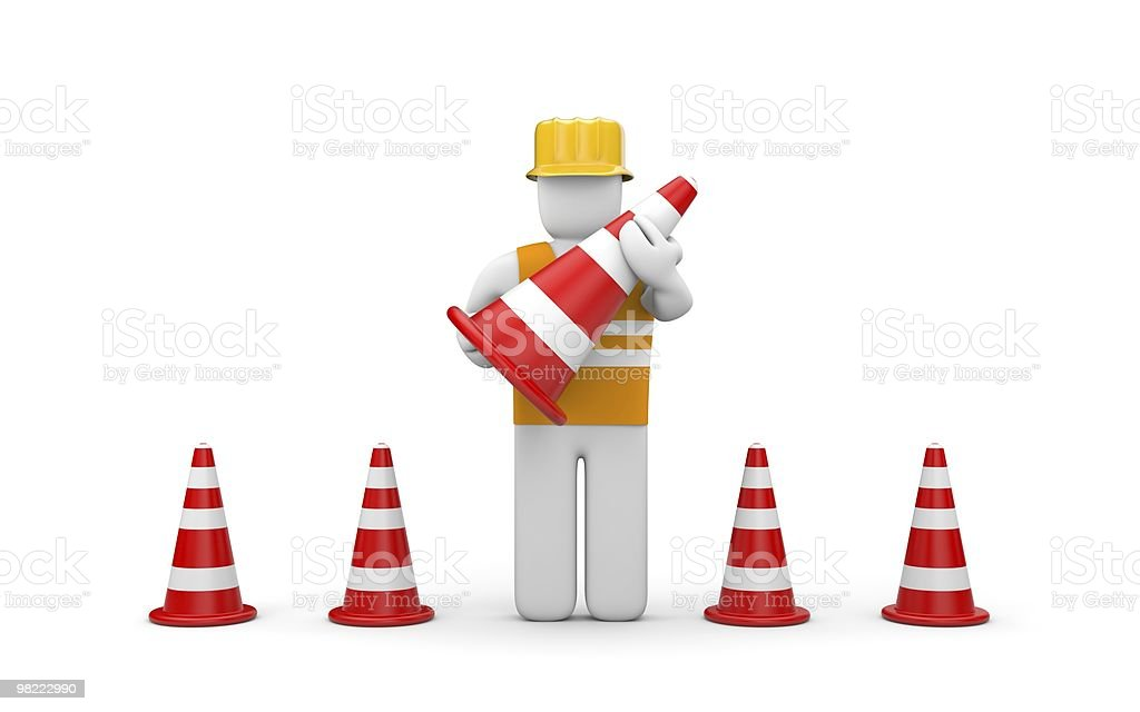 Repairman with traffic cones royalty-free stock photo