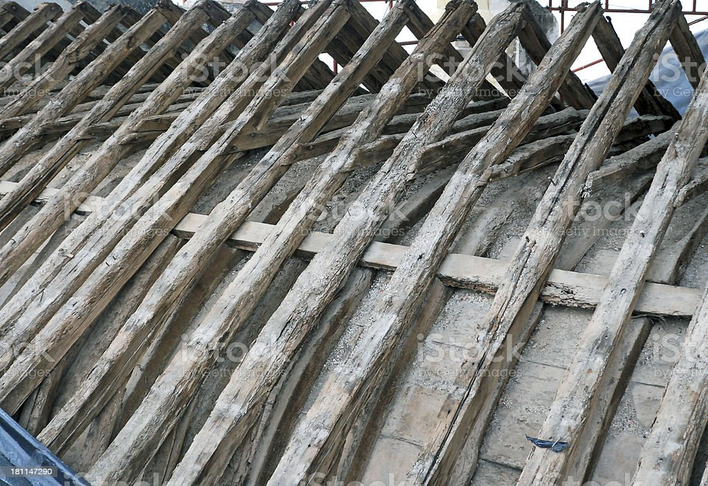 Repairs being done on 12th century church roof in Portugal royalty-free stock photo